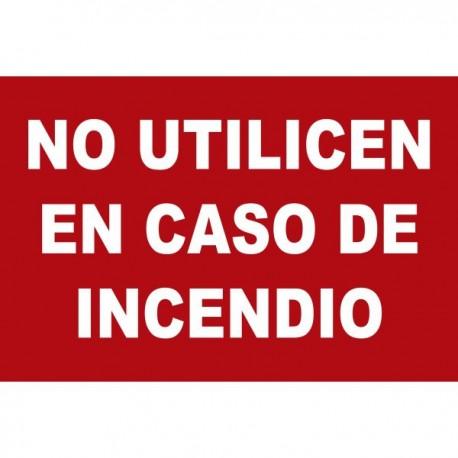 Señal de No utilizar en caso de incendio poliestireno fotoluminiscente 297x210