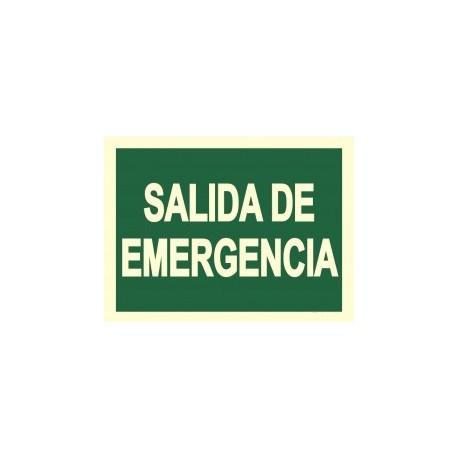 "Señal de ""Salida de Emergencia"" poliestireno fotoluminiscente 297x210"