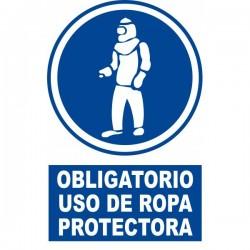 Señal de Uso obligatorio de ropa protectora poliestireno blanco 297x210